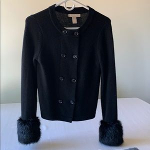 Banana Republic Black Sweater with Fur Cuffs